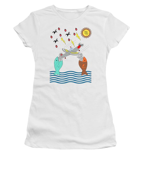 Fish Food Women's T-Shirt (Junior Cut) by Methune Hively