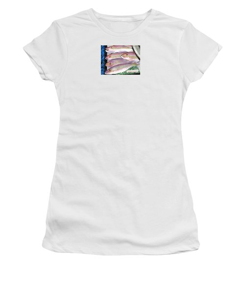 Women's T-Shirt (Junior Cut) featuring the digital art Fish Market by Jean Pacheco Ravinski