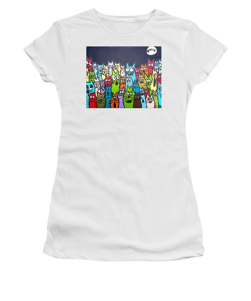 Fish Moon Cats Women's T-Shirt (Athletic Fit)