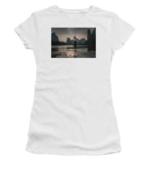 Fisherman Casting A Net. Women's T-Shirt