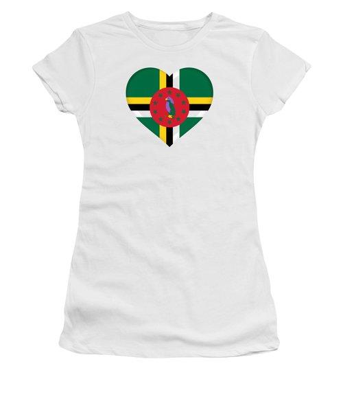 Flag Of Dominica Heart Women's T-Shirt