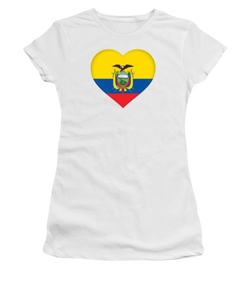 Flag Of Ecuador Heart Women's T-Shirt (Athletic Fit)