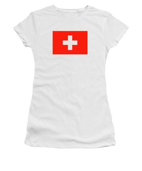 Flag Of Switzerland Women's T-Shirt (Junior Cut) by Bruce Stanfield