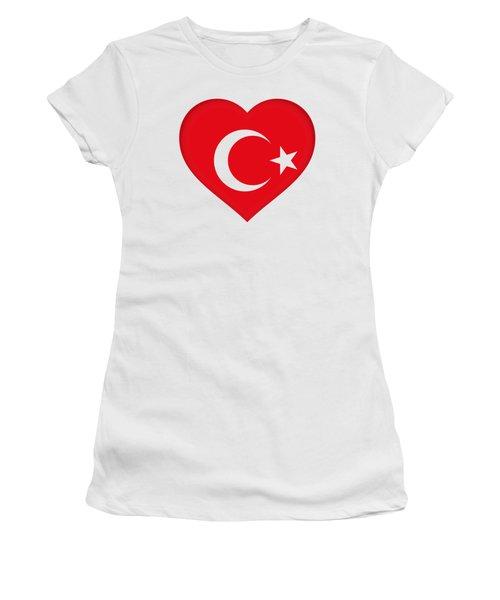 Flag Of Turkey Heart Women's T-Shirt (Junior Cut) by Roy Pedersen