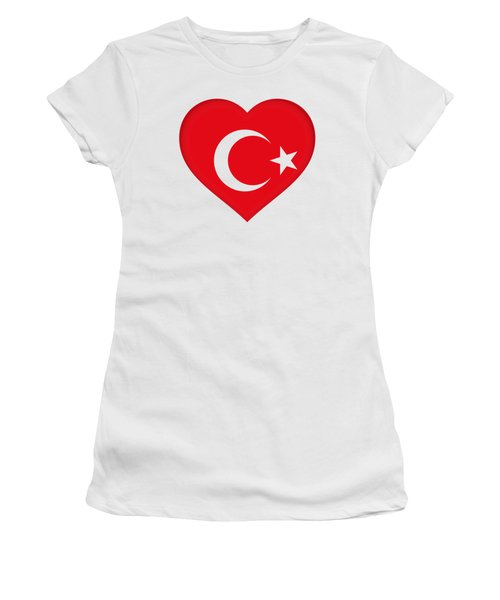 Flag Of Turkey Heart Women's T-Shirt (Athletic Fit)