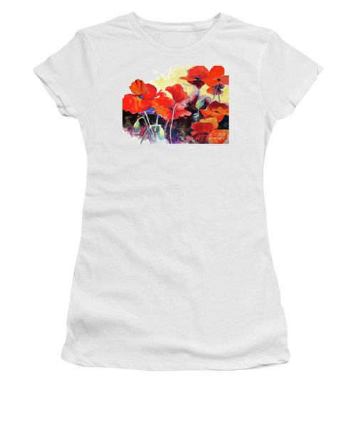 Women's T-Shirt (Junior Cut) featuring the painting Flaming Poppies by Kathy Braud