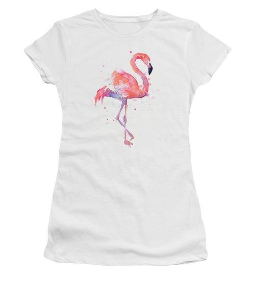 Flamingo Watercolor Facing Right Women's T-Shirt