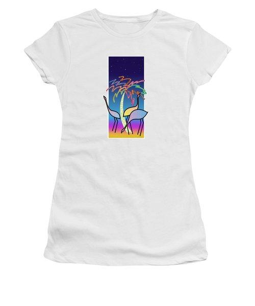 Flamingos Women's T-Shirt (Junior Cut) by Steve Ellis