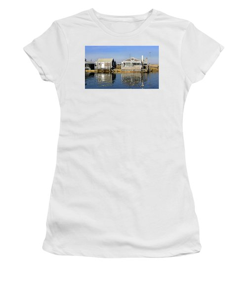 Women's T-Shirt (Athletic Fit) featuring the photograph Fletchers Camp And The Little House Sandy Neck by Charles Harden