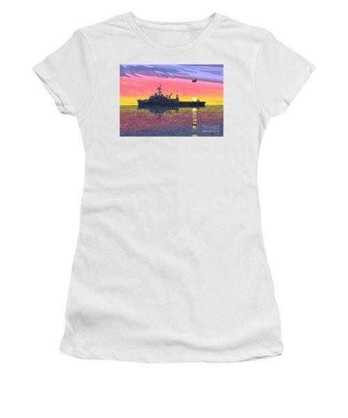 Flight Ops At Sunset Women's T-Shirt (Junior Cut) by Donald Maier