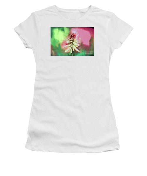 Women's T-Shirt (Athletic Fit) featuring the photograph Floral Art - Red Hot Poker by Kerri Farley