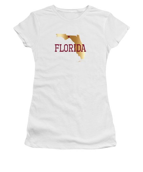 Florida Gold And Garnet With State Capital Typography Women's T-Shirt (Athletic Fit)