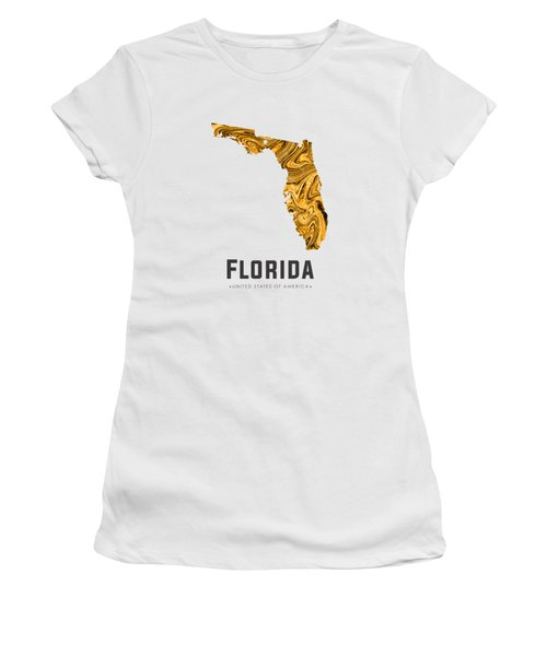 Florida Map Art Abstract In Yellow Gold Women's T-Shirt