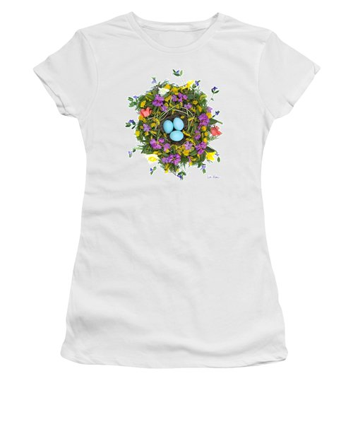 Flower Nest Women's T-Shirt (Junior Cut) by Lise Winne