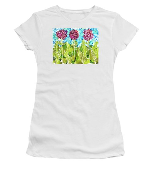Women's T-Shirt featuring the painting Flower Power by Kathryn Riley Parker