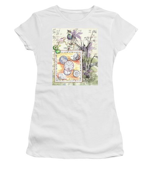 Women's T-Shirt (Junior Cut) featuring the drawing Flowers And Time by Cathie Richardson