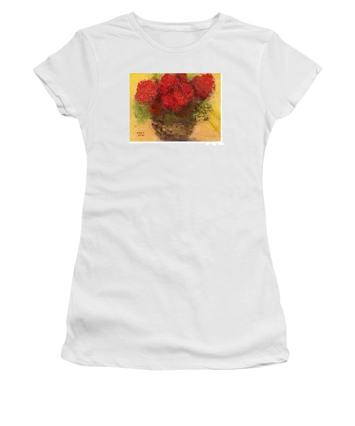 Flowers Red Women's T-Shirt (Junior Cut) by Marlene Book
