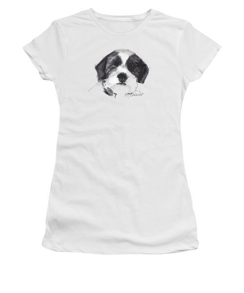 Fluffy Black And White Dog Watercolor Painting Women's T-Shirt (Athletic Fit)