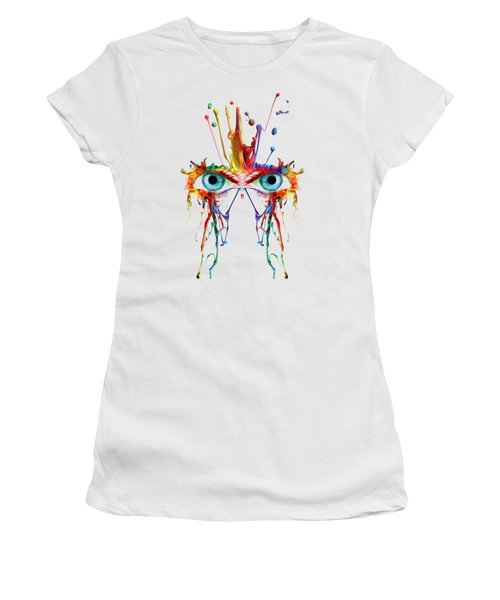 Fluid Abstract Eyes Women's T-Shirt (Junior Cut) by Robert G Kernodle