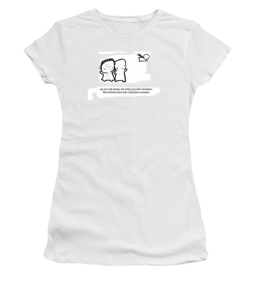 Women's T-Shirt (Junior Cut) featuring the drawing Fly Away by Leanne Wilkes
