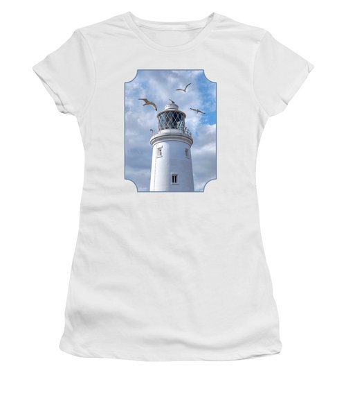 Fly Past - Seagulls Round Southwold Lighthouse Women's T-Shirt (Junior Cut) by Gill Billington