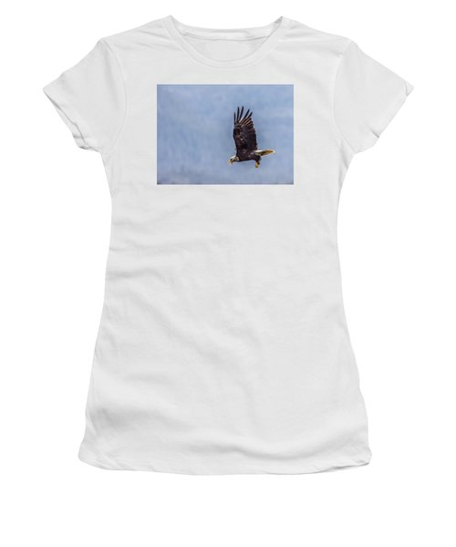 Women's T-Shirt (Junior Cut) featuring the photograph Flying With His Mouth Full.  by Timothy Latta