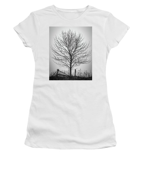 Foggy Lone Tree Hill Fine Art Women's T-Shirt