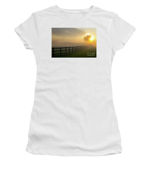 Foggy Pasture Sunrise Women's T-Shirt (Athletic Fit)