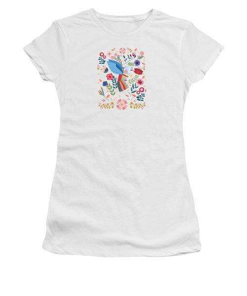 Folk Art Inspired Hummingbird In A Burst Of Springtime Blossoms Women's T-Shirt (Athletic Fit)