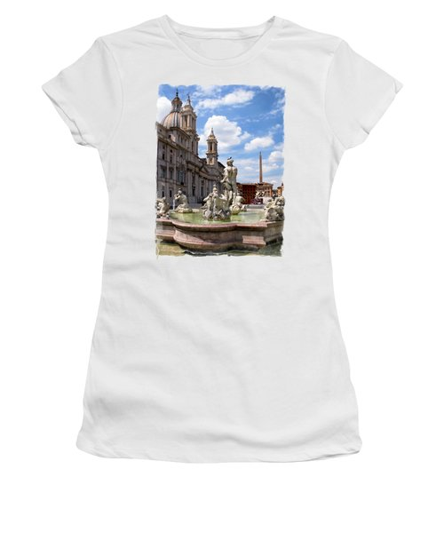 Fontana Del Moro.rome Women's T-Shirt (Junior Cut) by Jennie Breeze