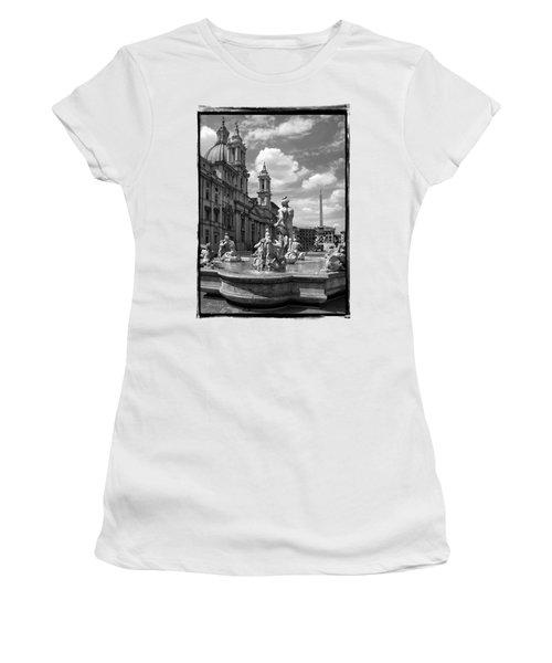 Fontana Del Moro.rome.italy Women's T-Shirt (Junior Cut) by Jennie Breeze