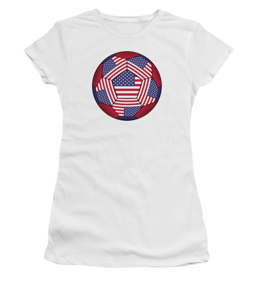 Football Ball With United States Flag Women's T-Shirt