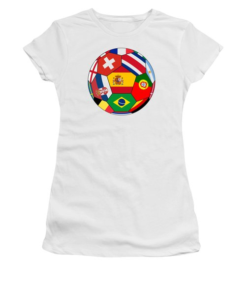 Football Ball With Various Flags Women's T-Shirt (Athletic Fit)