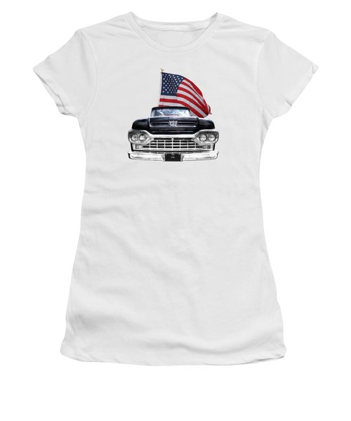 Ford F100 With U.s.flag On Black Women's T-Shirt