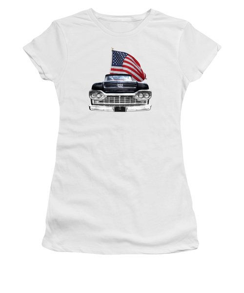 Ford F100 With U.s.flag On Black Women's T-Shirt (Athletic Fit)