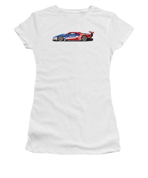 Ford Gt Le Mans Illustration Women's T-Shirt (Junior Cut) by Alain Jamar