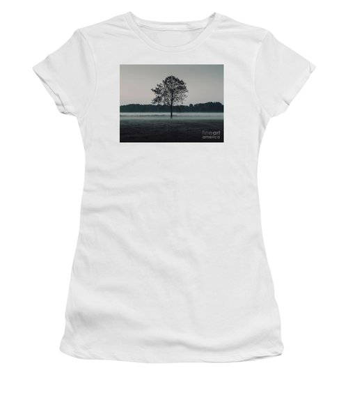 Women's T-Shirt (Junior Cut) featuring the photograph Forest Fog by MGL Meiklejohn Graphics Licensing