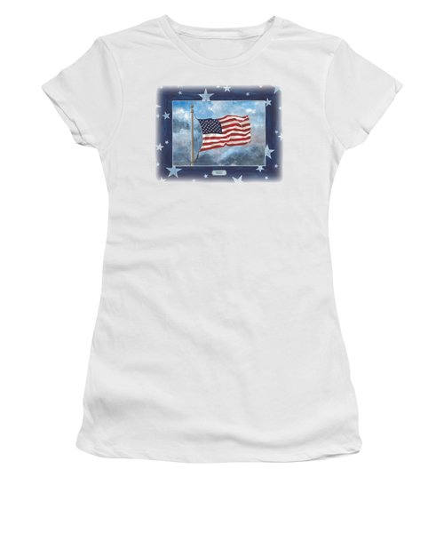 Forever Old Glory  Women's T-Shirt (Junior Cut) by Herb Strobino