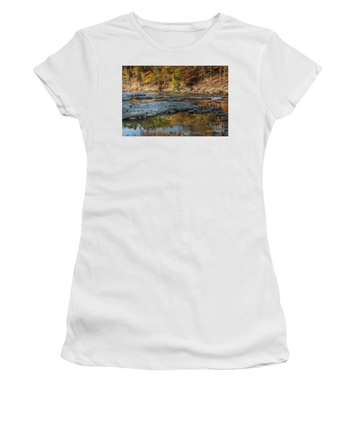 Women's T-Shirt (Junior Cut) featuring the photograph Fork River Reflection In Fall by Iris Greenwell