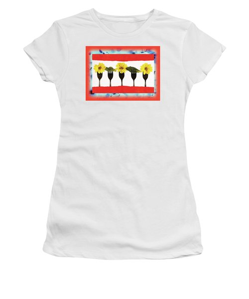 Forks And Flowers Women's T-Shirt (Junior Cut) by Paula Ayers
