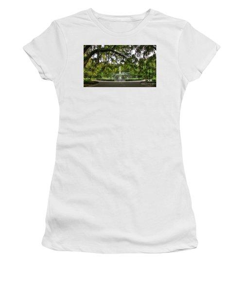 Forsyth Park Fountain Historic Savannah Georgia Women's T-Shirt (Junior Cut) by Reid Callaway