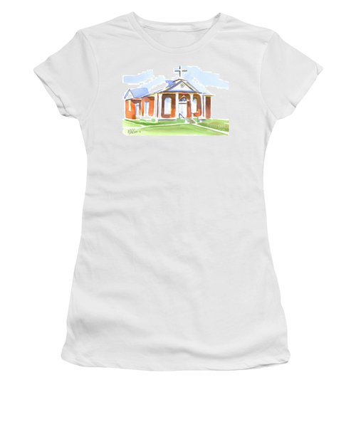 Women's T-Shirt (Junior Cut) featuring the painting Fort Hill Methodist Church by Kip DeVore