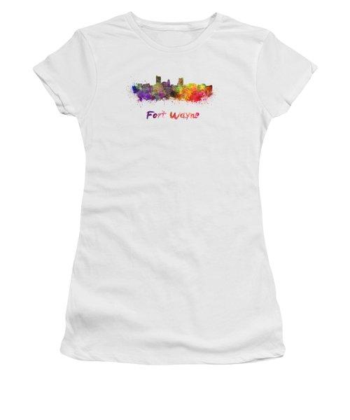 Fort Wayne Skyline In Watercolor Women's T-Shirt
