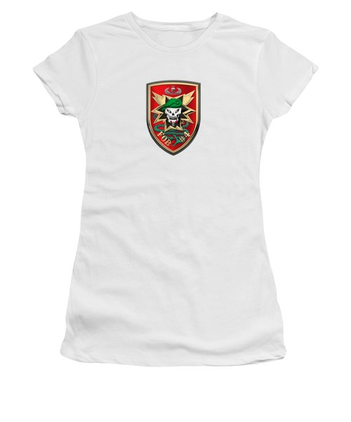 Forward Operating Base Four -  F O B - 4  Patch Over White Leather Women's T-Shirt