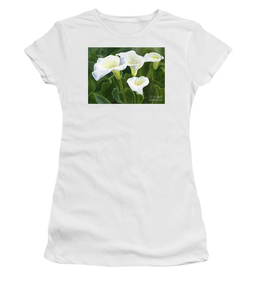 Four Calla Lily Blossoms With Leaves Women's T-Shirt