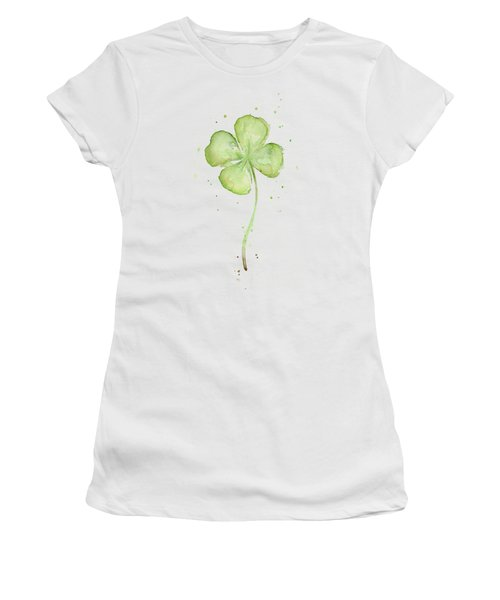 Four Leaf Clover Lucky Charm Women's T-Shirt (Junior Cut) by Olga Shvartsur
