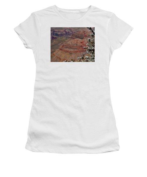 Women's T-Shirt (Junior Cut) featuring the photograph Framed By A Snow Laden Tree by Debby Pueschel
