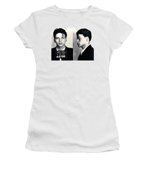 Frank Sinatra Mug Shot Horizontal Women's T-Shirt (Junior Cut) by Tony Rubino