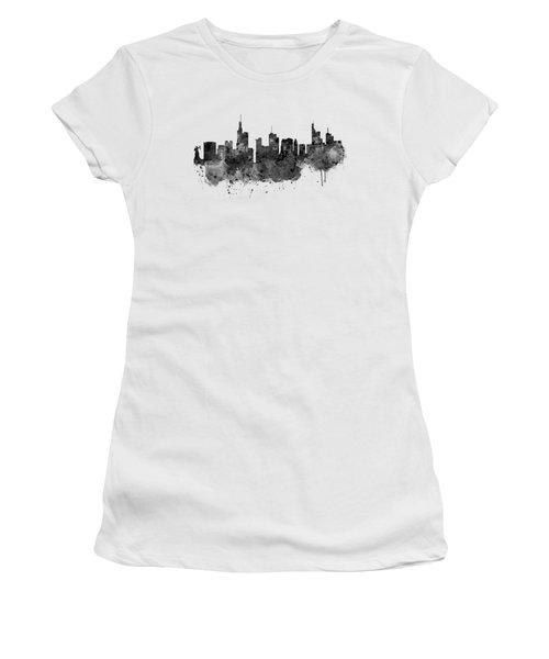 Frankfurt Black And White Skyline Women's T-Shirt (Athletic Fit)