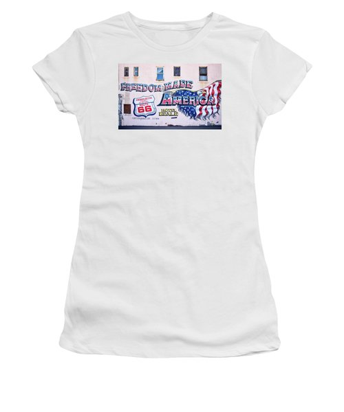 Freedom Made America - Mural Art On Route 66 Women's T-Shirt (Athletic Fit)